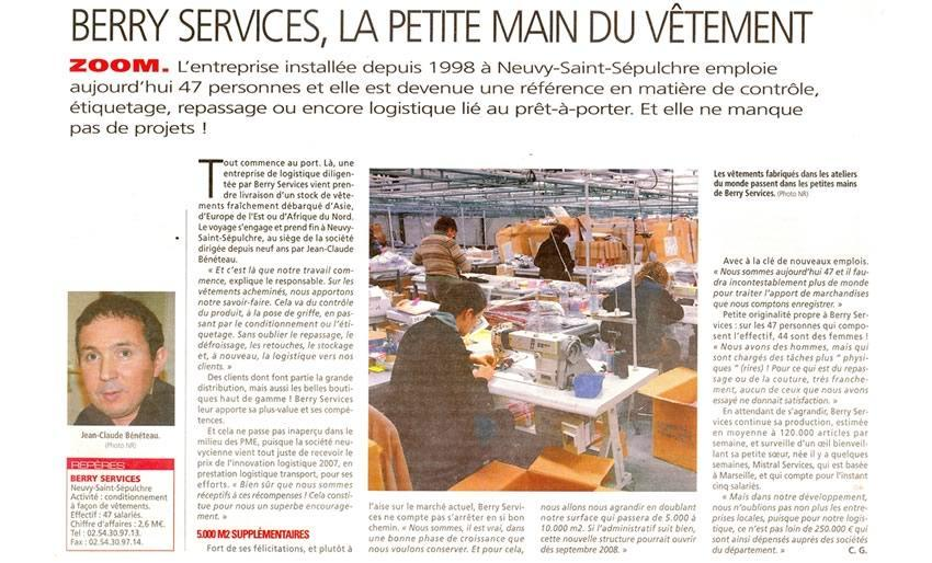Article Berry Services Nouvelle République 06 12 2007